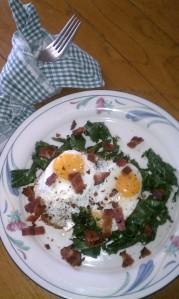 Local fresh eggs on local fresh kale