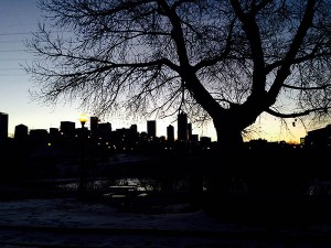 Facing Denver from South Platte River by REI